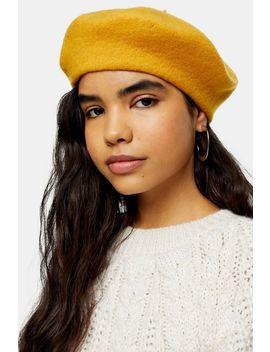 Mustard Plain Wool Blend Beret by Topshop