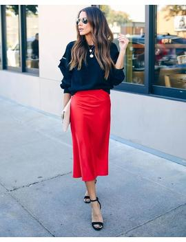 Silken Splendor Midi Skirt   Red by Vici