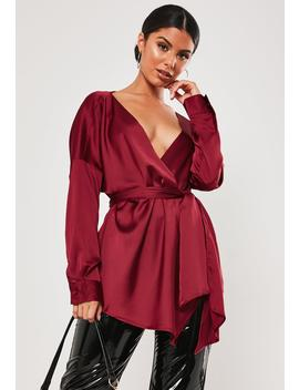 Wine Satin Tie Waist Blouse by Missguided