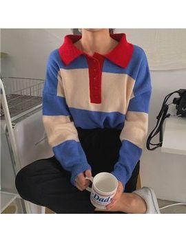 Pomona   Color Block Polo Sweater by Pomona