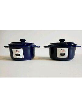 "Staub Ceramic Mini Round Cocotte, Dark Blue   Set Of 2   10cm /4"" Msrp $79.95 by Staub"