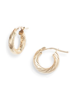 14 K Gold Small Twisted Rope Hoop Earrings by Bony Levy