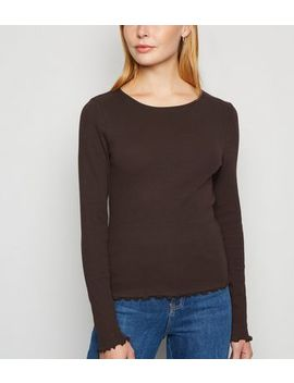 Brown Ribbed Frill Trim Long Sleeve T Shirt by New Look