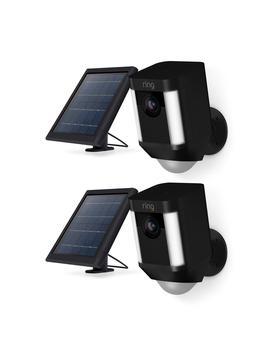 Spotlight Cam Solar Outdoor Security Wireless Standard Surveillance Camera In Black (2 Pack) by Ring