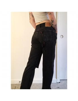 Faded, Black High Waisted Levi's 505 Vintage Jeans by Depop