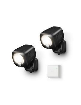 Black Smart Lighting Motion Activated Outdoor Integrated Led Spot Light Battery W/ Smart Lighting Bridge White (2 Pack) by Ring