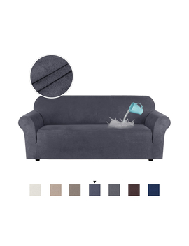 Water Repellent Sofa Covers Luxury Suede Couch Cover High Stretch Soft Slipcover Lounge Cover, 1/2/3 Seater, Blueish Grey by Smarcute