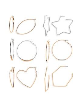 6 Pack Mixed Shape Hoop Earrings by Bp.