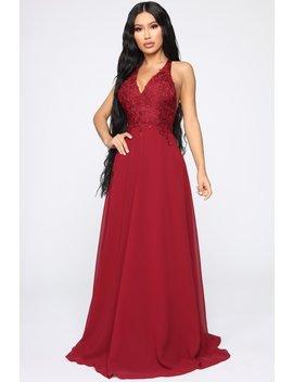 Cherish Me Gown   Burgundy by Fashion Nova