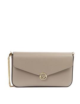 Fendi Beige Leather Wallet With Chain Shoulder Strap by Fendi