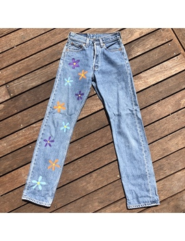 Vintage Levi Denim Jeans With Flowers Painted On by Depop