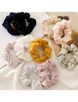 Fashion Solid Color Elastic Hair Bands Toothpick Wrinkle Elastic Hair Scrunchie Ponytail Hair Ring White Yellow Pink Headwear by Ali Express.Com