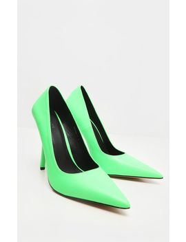 Neon Lime Square Heel Court Shoe by Prettylittlething