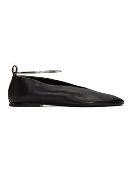 Black Ankle Cuff Ballerina Flats by Jil Sander