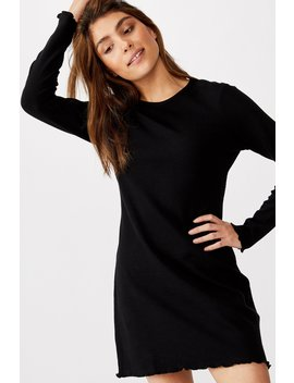 Ainsley Long Sleeve Waffle Mini Dress by Cotton On