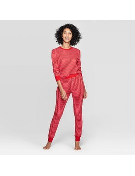 Women's Striped Thermal Sleep Pajama Set   Stars Above™ Red by Stars Above