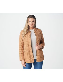 Isaac Mizrahi Live! Zip Front Quilted Jacket With Leopard Printed Lining by Isaac Mizrahi Live!Tm