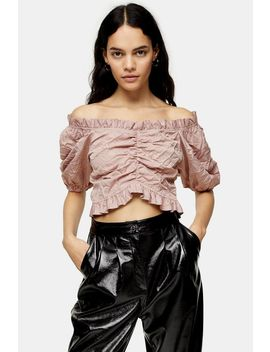 Crushed Satin Prairie Blouse by Topshop