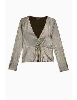Gold Foil Plunge Long Sleeve Top by Topshop