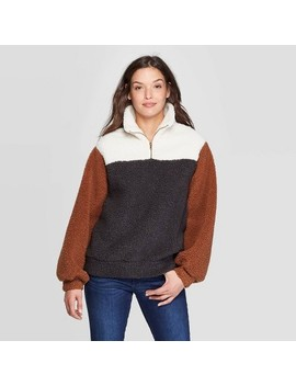 Women's Long Sleeve Quarter Zip Up Sherpa Sweatshirt   Universal Thread™ Brown by Universal Thread