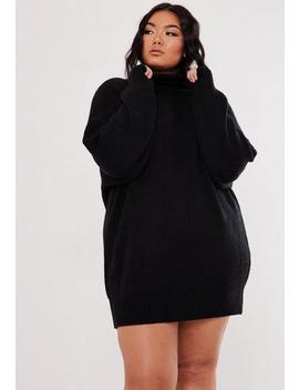 Plus Size Black Boyfriend Roll Neck Jumper Dress by Missguided