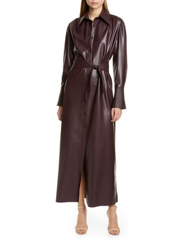 Rosana Long Sleeve Faux Leather Shirtdress by Nanushka