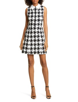 Ellis Houndstooth Zip Front Sleeveless Dress by Alice + Olivia
