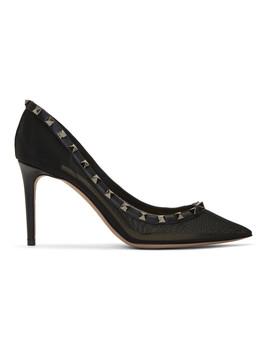 Black Valentino Garavani Rockstud Mesh Heels by Valentino