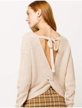 Ivy & Main Open Twist Back Oatmeal Womens Sweater by Tilly's
