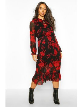 Floral Print Ruffle Neck Midaxi Dress by Boohoo
