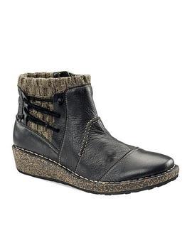 Aetrex® Tessa Leather Warm Bootie With Cork Wedge by Aetrex