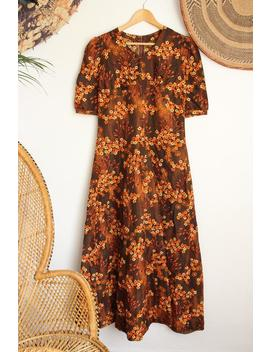 Vintage Brown Orange Floral Flower 60s 70s Maxi Midi 40s 50s Style Blouse Dress S / M by Etsy