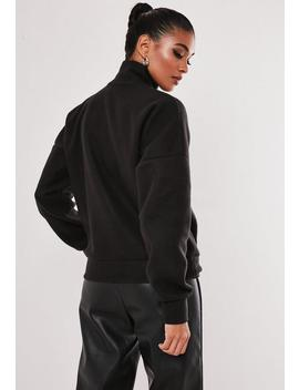 Black High Neck Seam Detail Fleece Sweatshirt by Missguided