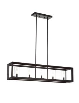Anna 38.5 In. 5 Light Oil Rubbed Bronze Metal/Glass Led Pendant by Jonathan Y