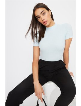 Ribbed Mock Neck T Shirt by Urban Planet