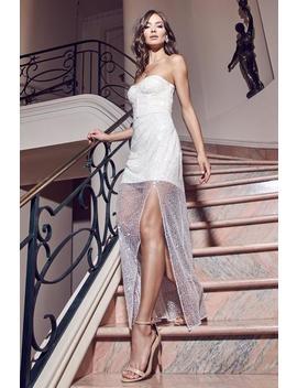 Ellia Embellished Strapless Maxi Dress   White by Meshki