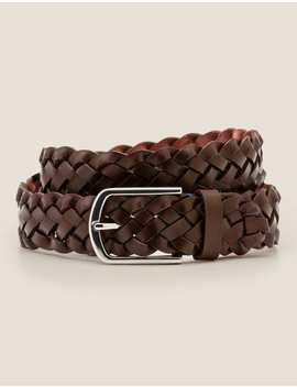 Leather Plaited Belt   Brown by Boden