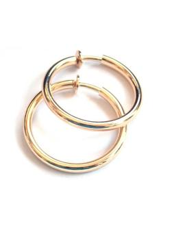 Clip On Earrings Clip Hoop Earrings Gold Tone Brass Hypo Allergenic 1 Inch Earrings Pipe Hoops by Etsy