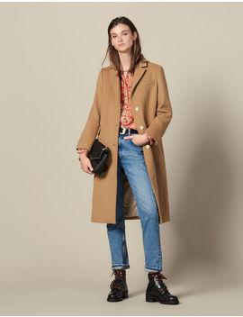 Long Fitted Woolcloth Coat by Sandro Paris
