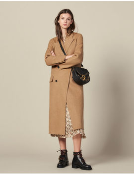 Long Double Faced Wool Coat by Sandro Paris