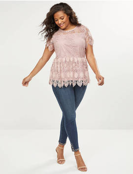 Scalloped Lace Peplum Top by Lane Bryant