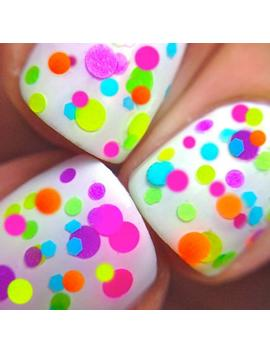 Flirty  Polka Dot Neon Custom Blended Indie Glitter Nail Polish / Lacquer by Etsy