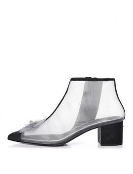 Chanel Mesh Grosgrain Camellia Short Boots 39 Grey Black by Chanel