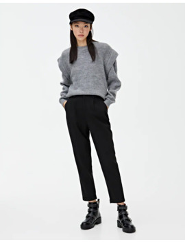 Black Tailored Pants With Darts by Pull & Bear