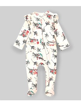 Baby Girls Newborn 9 Months Ruffle Trim Floral Footed Coverall by Jessica Simpson
