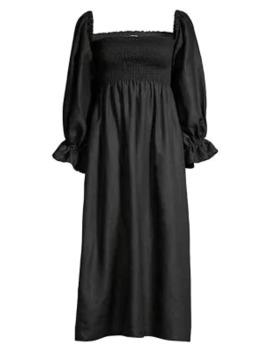 Atlanta Puff Sleeve Smock Bodice Linen A Line Midi Dress by Sleeper