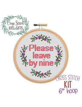 Please Leave By Nine. Starter Cross Stitch Kit For Beginners. Subversive, Funny Cross Stitch Kit. Beginner's Cross Stitch Kit. Wreath Kit. by Etsy