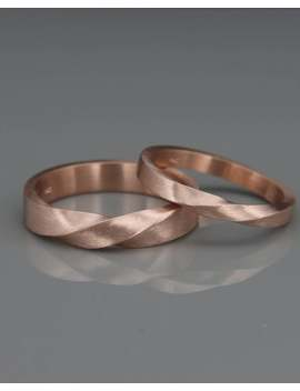 Rose Gold Mobius Wedding Band Set | His And Hers Mobius Ring Set Made Of 14k Rose Gold | Mobius Wedding Ring Set by Etsy