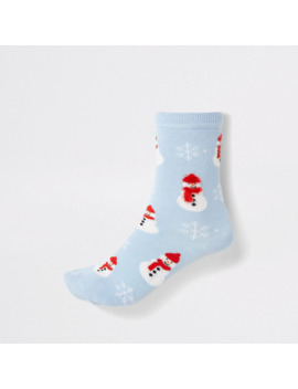 Blue Snowman Printed Ankle Socks by River Island