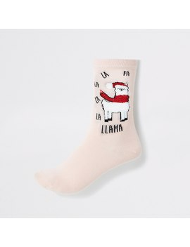 Pink 'llama' Pom Pom Ankle Socks by River Island